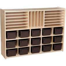 Contender Multi-Storage Unit with 15 Brown Plastic Trays - Unassembled - 46.75
