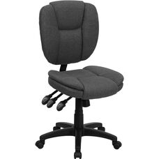 Mid-Back Gray Fabric Multifunction Ergonomic Swivel Task Chair
