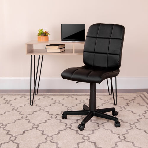 Mid-Back Quilted Vinyl Swivel Task Office Chair