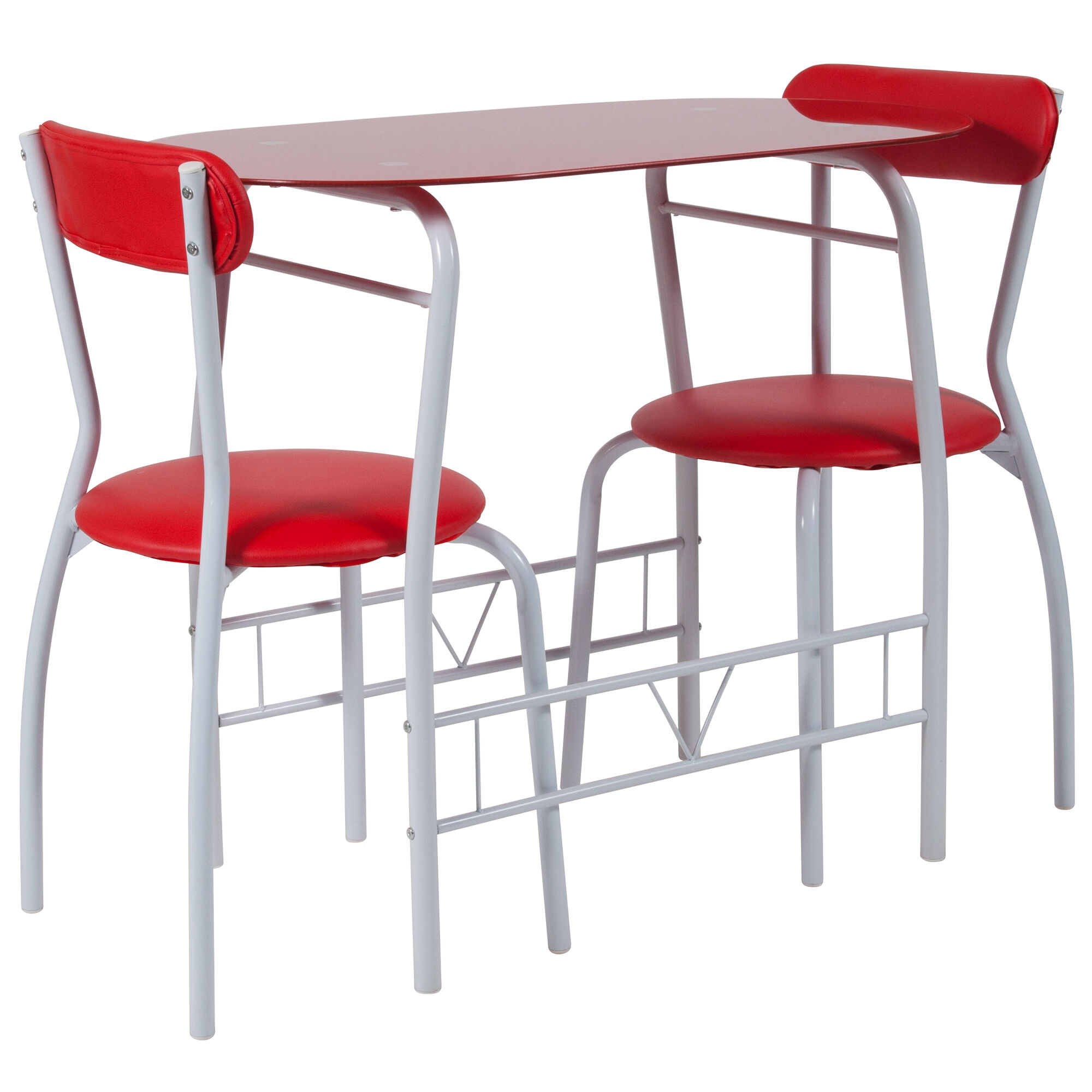Sutton 3 Piece Space-Saver Bistro Set with Red Glass Top Table and Red  Vinyl Padded Chairs