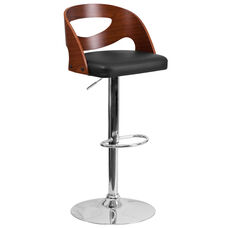 Walnut Bentwood Adjustable Height Barstool with Side Panel Cutout Back and Black Vinyl Seat