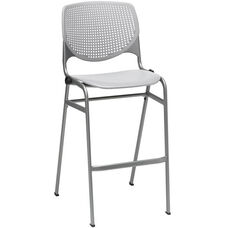 2300 KOOL Series Stacking Poly Armless Barstool with Perforated Back and Silver Frame - Light Grey