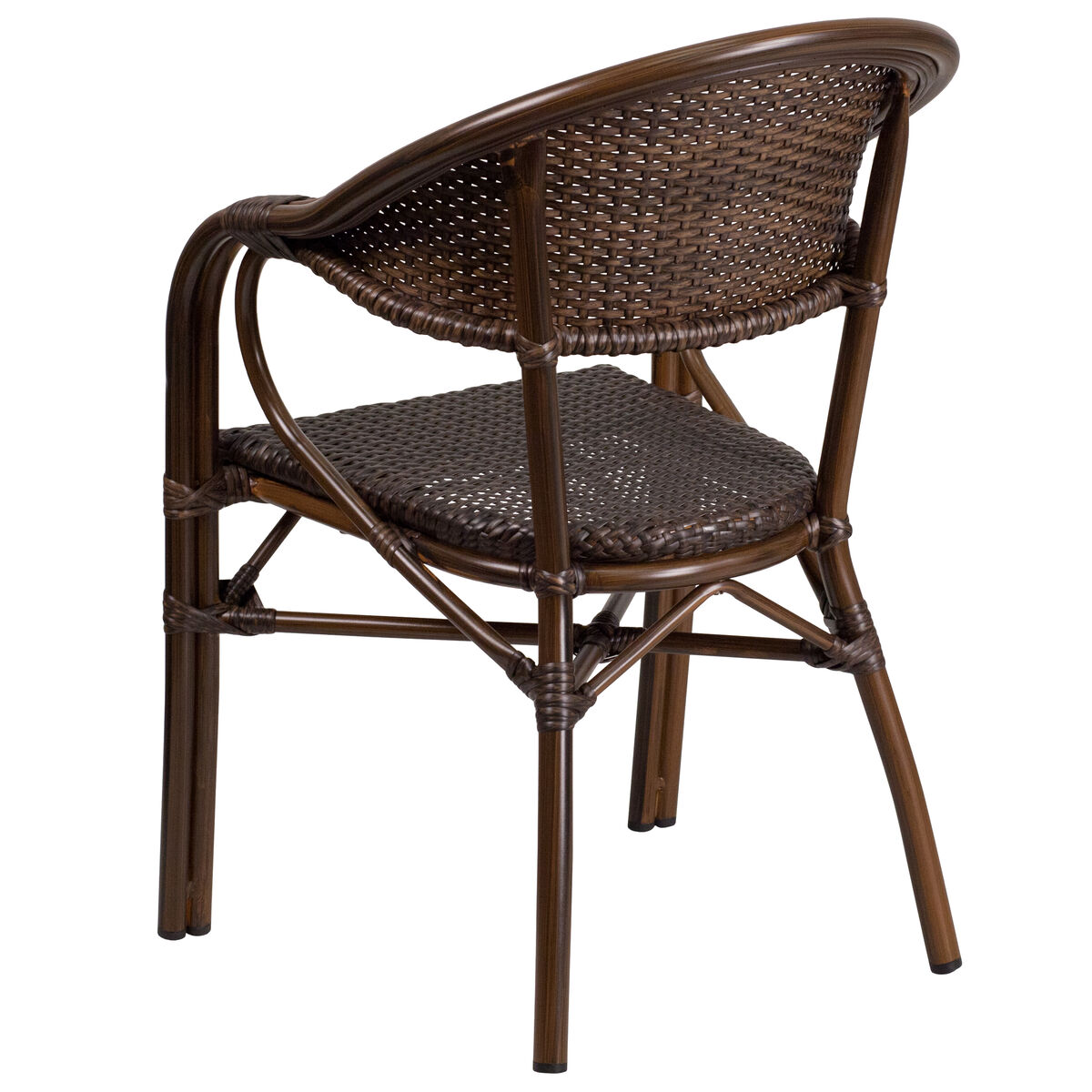 Bamboo Turned Chair: Milano Series Cocoa Rattan Restaurant Patio Chair With