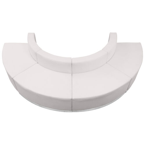 HERCULES Alon Series Melrose White LeatherSoft Reception Configuration, 4 Pieces