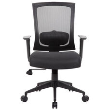 Breathable Mesh Ractchet Back Task Chair With Adjustable Height Armrests - Black