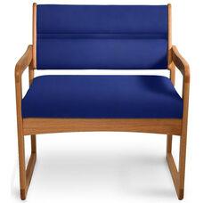 Solid Oak Bariatric Arm Chair - Navy Blue Vinyl