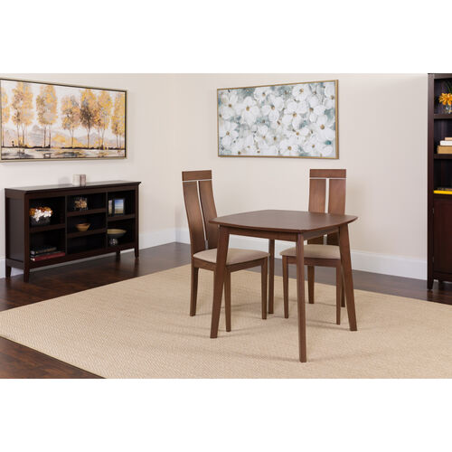 Our Glocester 3 Piece Walnut Wood Dining Table Set with Clean Line Wood Dining Chairs - Padded Seats is on sale now.