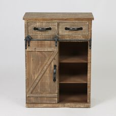 Rustic Wood Sliding Barn Door Console Cabinet with 2 Drawers