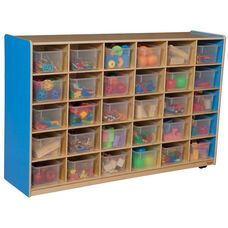 Wooden Storage Unit with 30 Clear Plastic Trays - Blueberry - 58