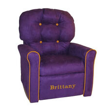Kids Personalized 4 Button Microsuede Rocking Recliner with Pumpkin Trim - Purple