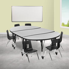 """Mobile 76"""" Oval Wave Collaborative Laminate Activity Table Set with 14"""" Student Stack Chairs, Grey/Black"""