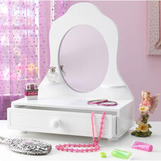 Kids Wooden Light Weight Tabletop Vanity with Storage Drawer - White
