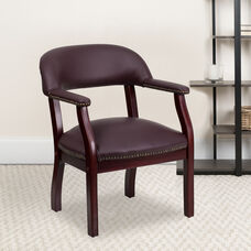 Burgundy LeatherSoft Conference Chair with Accent Nail Trim