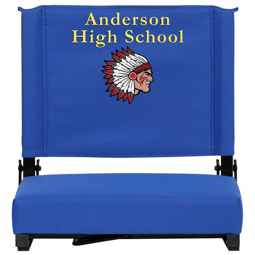 Our Embroidered Grandstand Comfort Seats by Flash with Ultra-Padded Seat in Blue is on sale now.