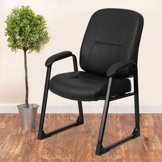 HERCULES Series Big & Tall 400 lb. Rated Black LeatherSoft Executive Side Chair with Sled Base