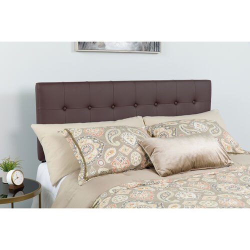 Our Lennox Tufted Upholstered Queen Size Headboard in Brown Vinyl is on sale now.