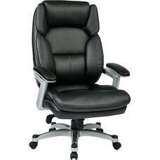 Work Smart Executive Eco Leather Chair with PU Padded Arms and Silver Finish Coated Base - Black