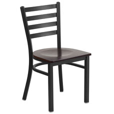 HERCULES Series Black Ladder Back Metal Restaurant Chair - Walnut Wood Seat