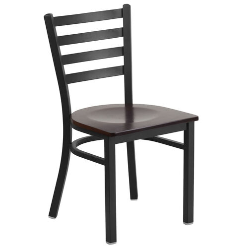 Our HERCULES Series Black Ladder Back Metal Restaurant Chair - Walnut Wood Seat is on sale now.