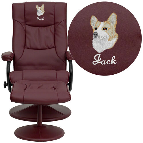 Our Embroidered Contemporary Multi-Position Recliner and Ottoman with Wrapped Base in Burgundy Leather is on sale now.
