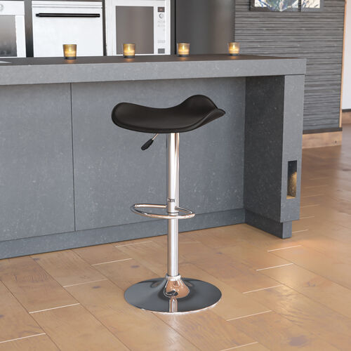 Contemporary Vinyl Adjustable Height Barstool with Wavy Seat and Chrome Base