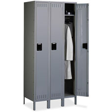 Tennsco Single Tier 3 Column Wide Locker with Legs - Medium Gray