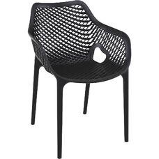 Air XL Modern Resin Outdoor Dining Arm Chair - Black