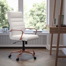 High Back White LeatherSoft Executive Swivel Office Chair with Rose Gold Frame and Arms