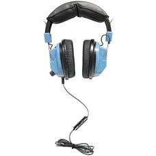 Blue Mac/PC Compatible Deluxe Leatherette Headset with On-Ear Volume Control and TRRS Plug