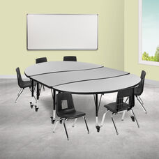 "Mobile 86"" Oval Wave Collaborative Laminate Activity Table Set with 12"" Student Stack Chairs, Grey/Black"