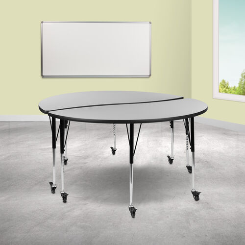 """Our 2 Piece Mobile 60"""" Circle Wave Collaborative Grey Thermal Laminate Adjustable Activity Table Set is on sale now."""