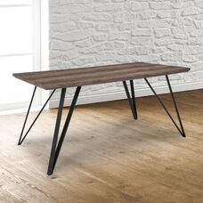 """Corinth 31.5"""" x 63"""" Rectangular Dining Table in Distressed Light Brown Wood Finish"""