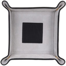 Suede Lined Catchall Valet Tray - Top Grain Nappa Leather - Black and Gray