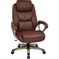 Work Smart Executive Eco Leather Chair with Padded Arms and Cocoa Coated Base - Wine
