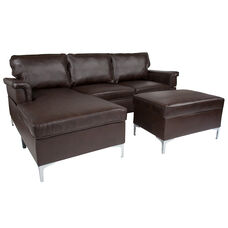 Boylston Upholstered Plush Pillow Back Sectional with Left Side Facing Chaise and Ottoman Set in Brown LeatherSoft