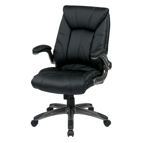 Our Work Smart Faux Leather Mid Back Managers Chair with Padded Flip Arms - Black is on sale now.