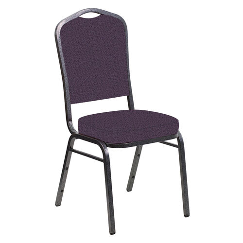 Our Embroidered Crown Back Banquet Chair in Old World Purple Fabric - Silver Vein Frame is on sale now.