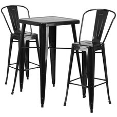 "Commercial Grade 23.75"" Square Black Metal Indoor-Outdoor Bar Table Set with 2 Stools with Backs"