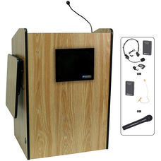Multimedia Wireless 150 Watt Sound and Microphone Presentation Podium - Oak Finish - 33