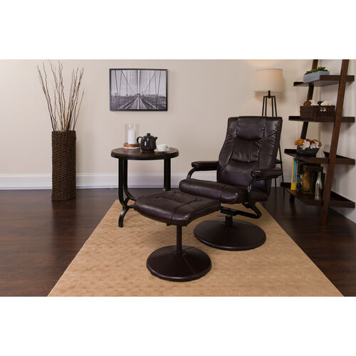 Our Contemporary Multi-Position Recliner and Ottoman with Wrapped Base in Brown LeatherSoft is on sale now.