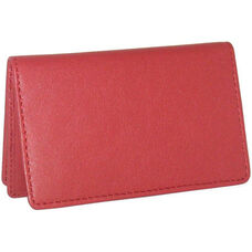 Business Card Holder with ID Display - Top Grain Nappa Leather - Red