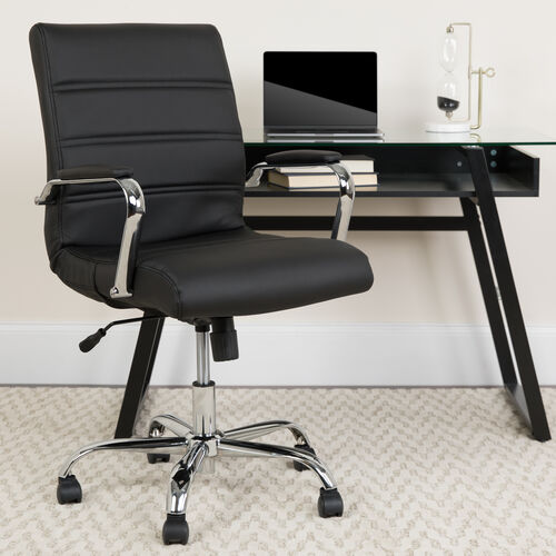 Mid-Back Executive Swivel Office Chair with Metal Frame and Arms