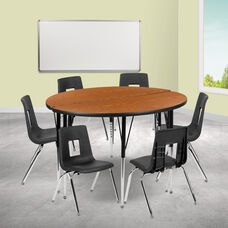 """47.5"""" Circle Wave Collaborative Laminate Activity Table Set with 16"""" Student Stack Chairs, Oak/Black"""