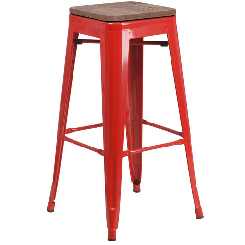 """Our 30"""" High Backless Red Metal Barstool with Square Wood Seat is on sale now."""