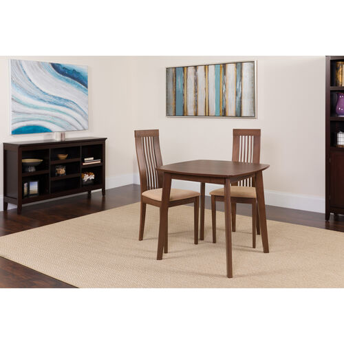 Bristol 3 Piece Walnut Wood Dining Table Set with Framed Rail Back Design Wood Dining Chairs - Padded Seats
