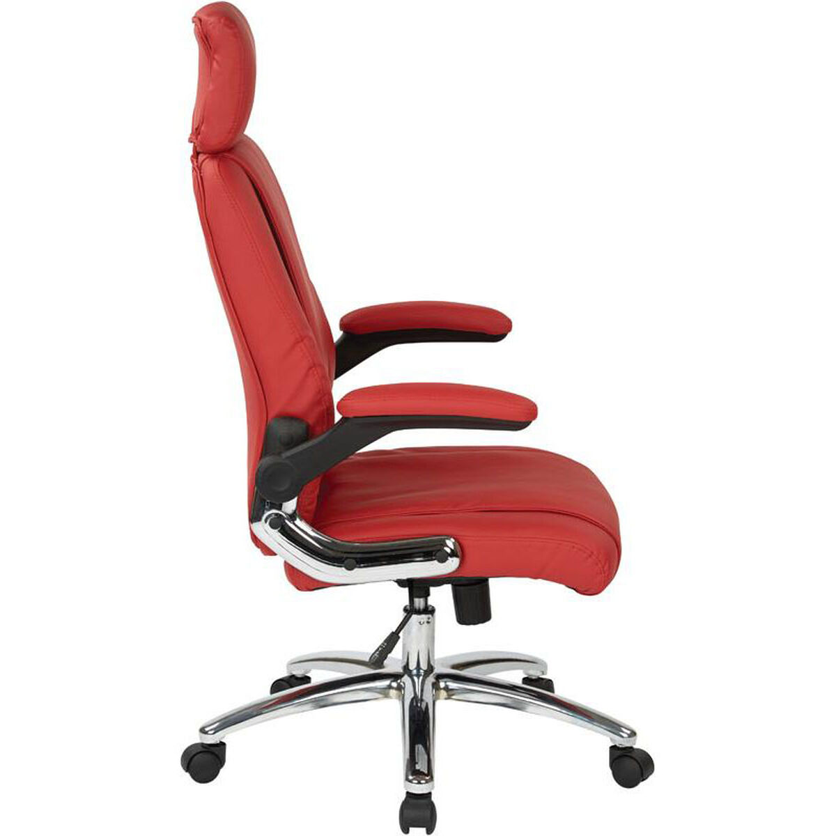 Our Work Smart Executive Faux Leather Office Chair With Chrome Metal Base Red Is On