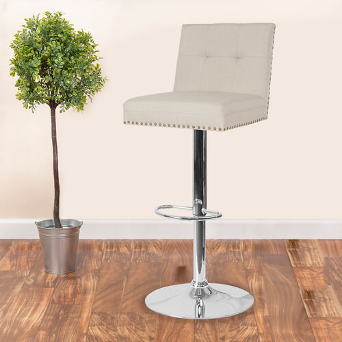 Our Ravello Contemporary Adjustable Height Barstool with Accent Nail Trim in Beige Fabric is on sale now.