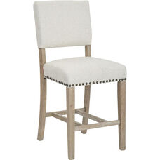 Ave Six Carson Counter Stool with Nailhead Trim - Linen