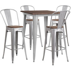 """31.5"""" Square Silver Metal Bar Table Set with Wood Top and 4 Stools"""
