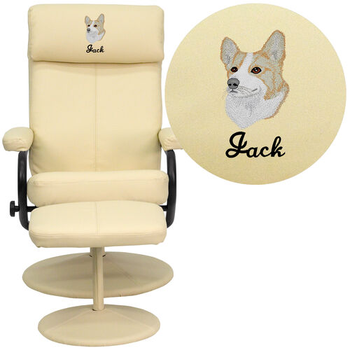 Our Embroidered Contemporary Multi-Position Headrest Recliner and Ottoman with Wrapped Base in Cream Leather is on sale now.
